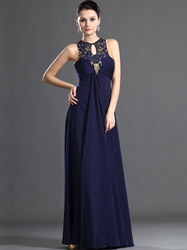 Navy Blue Empire Waist Chiffon Prom Dress With Beaded Illusion Neckline