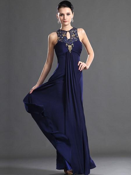 Navy Blue Empire Waist Chiffon Prom Dress With Beaded Illusion Neckline