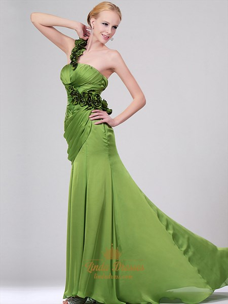Apple Green One Shoulder Prom Dresses With Side Drape And Floral Detail