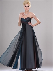 Navy Blue Ombre Sweetheart Strapless Empire Waist Chiffon Prom Dresses