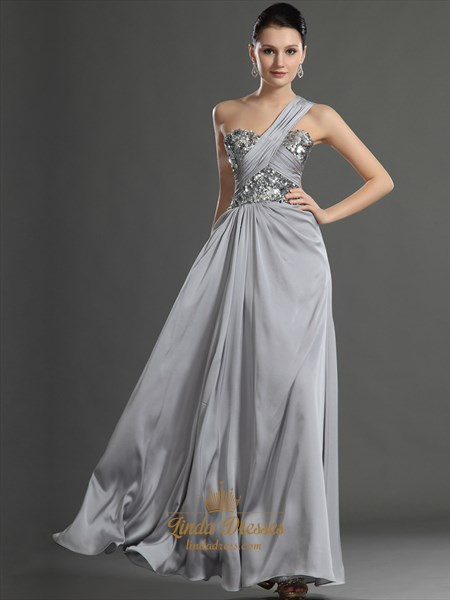 Elegant Grey One Shoulder Chiffon Prom Dress With Sequin Trim