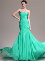 Show details for Green Chiffon Strapless Sheath Prom Dresses With Pleated Bodice