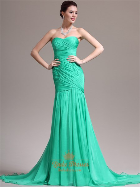 Green Chiffon Strapless Sheath Prom Dresses With Pleated Bodice