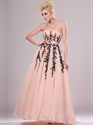 Peach A Line Strapless Chiffon Prom Dress With Beaded Lace Applique