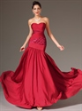 Show details for Red Sweetheart Strapless Sheath Chiffon Prom Dress With Beaded Detail