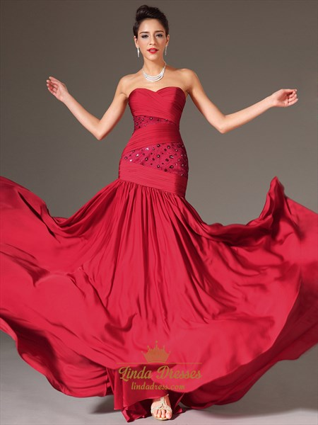 Red Sweetheart Strapless Sheath Chiffon Prom Dress With Beaded Detail