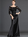 Show details for Black Lace Bodice Sheath Mother Of The Bride Dresses With 3/4 Sleeves
