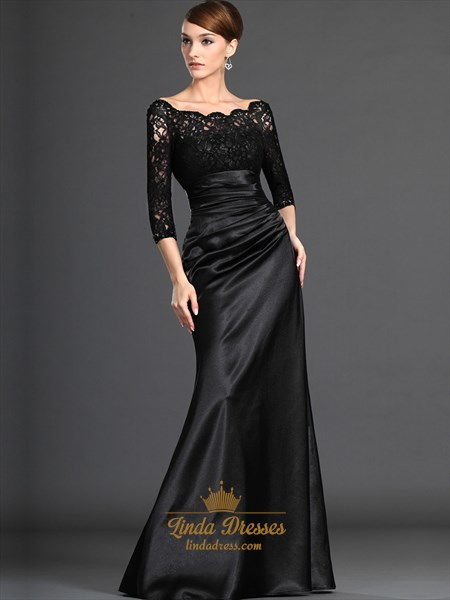 Black Lace Bodice Sheath Mother Of The Bride Dresses With 3/4 Sleeves