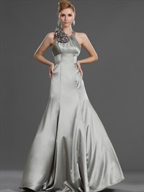 Grey Halter Neck Empire Sheath Prom Dress With Floral Embellishment