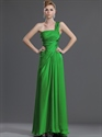 Show details for Elegant Green One Shoulder Chiffon Bridesmaid Dresses With Ruching