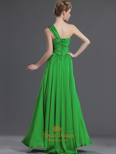 Elegant Green One Shoulder Chiffon Bridesmaid Dresses With Ruching