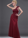 Show details for Burgundy One Shoulder Chiffon Sheath Prom Dress With Beaded Detail