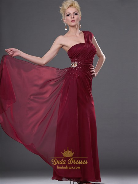 Burgundy One Shoulder Chiffon Sheath Prom Dress With Beaded Detail