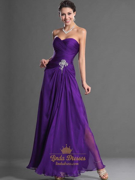 Purple Strapless Pleated Bodice Chiffon Prom Dress With Beaded Detail