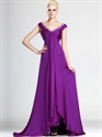 Show details for Violet Purple V Neck Empire Chiffon Prom Dresses With Front Cascade