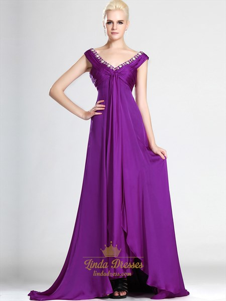 Violet Purple V Neck Empire Chiffon Prom Dresses With Front Cascade