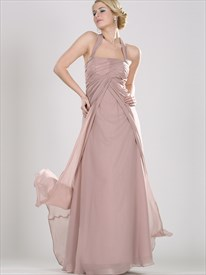 Pastel Pink Halter Neck Empire Chiffon Prom Dresses With Beaded Straps