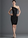 Show details for Black One Shoulder Sheath Knee Length Cocktail Dress With Ruching