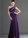 Show details for Purple Sheath One Shoulder Floor Length Prom Dresses With Beading