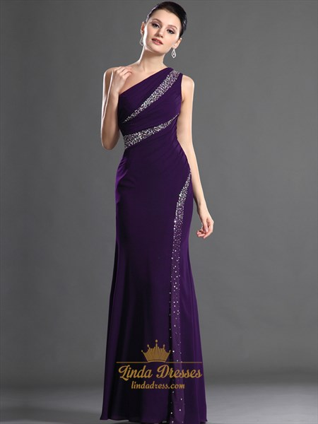 Purple Sheath One Shoulder Floor Length Prom Dresses With Beading