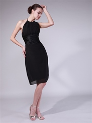 Black Chiffon Knee Length Sheath Bridesmaid Dress With Ruched Waist
