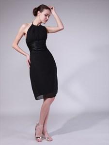 Black Chiffon Knee Length Sheath Bridesmaid Dress With Ruched Waist