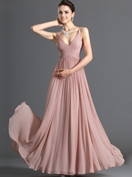 Pastel A-Line Pink V Neck Chiffon Long Bridesmaid Dress With Ruching