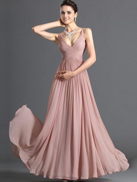 Pastel A-Line Pink V Neck Chiffon Long Bridesmaid Dress With Ruching