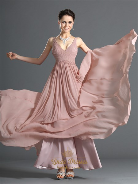 37d4217061cf Pastel A-Line Pink V Neck Chiffon Long Bridesmaid Dress With Ruching ...