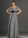 Show details for Grey V-Neck Chiffon Beaded Flutter Sleeves Prom Dress With Black Sash