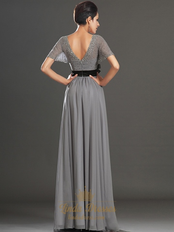 Grey V Neck Chiffon Beaded Flutter Sleeves Prom Dress With