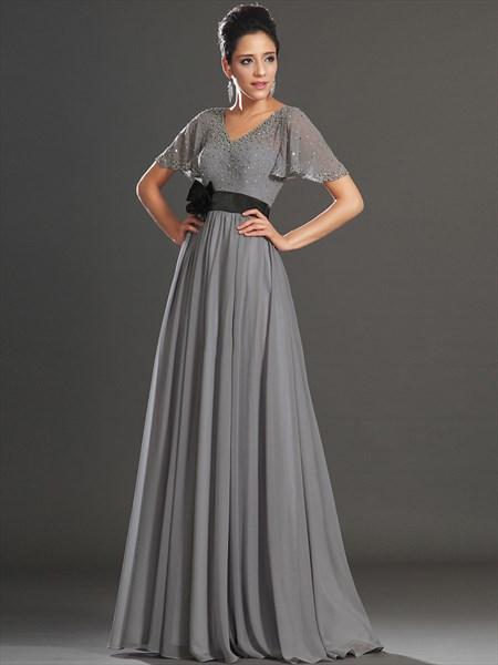 Grey V-Neck Chiffon Beaded Flutter Sleeves Prom Dress With Black Sash