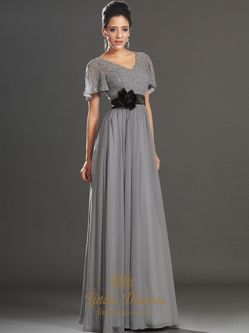 Grey V Neck Chiffon Beaded Flutter Sleeves Prom Dress With Black Sash