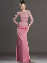 Pink Lace Bodice Sheath Mother Of The Bride Dresses With Long Sleeves