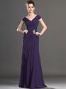 Show details for Purple Sheath V-Neck Chiffon Mother Of The Bride Dresses With Cap Sleeve