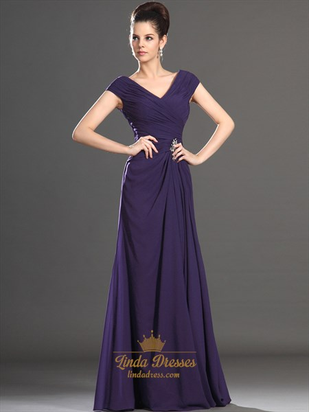 Purple Sheath V-Neck Chiffon Mother Of The Bride Dresses With Cap Sleeve