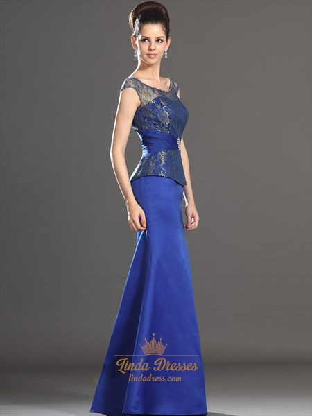 Royal Blue Sheath Cap Sleeve Mother Of The Bride Dresses With Lace Top