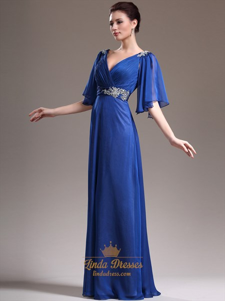 Royal Blue Beaded Chiffon Mother Of The Bride Dress With Flutter Sleeves