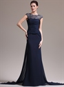 Show details for Navy Blue Chiffon Cap Sleeve Prom Dress With Beaded Illusion Neck