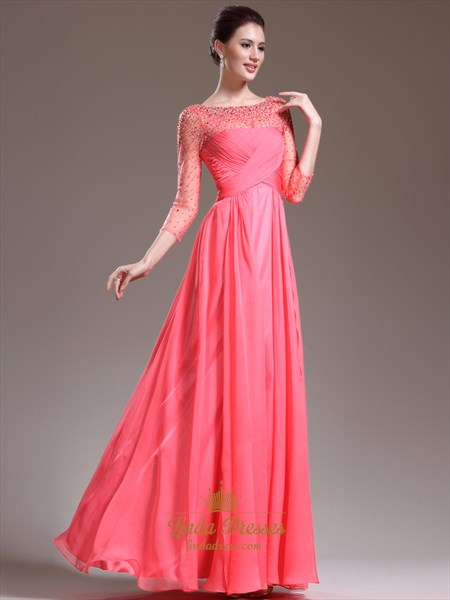 Watermelon Chiffon Long Sleeve Prom Dress With Illusion Beaded Neck