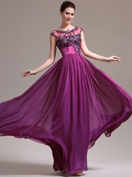 Hot Pink Chiffon Cap Sleeves Prom Dress With Lace Embellished Bodice