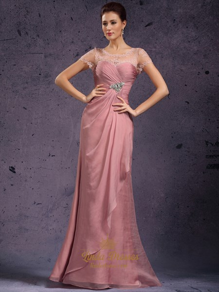 Pastel Pink Sheath Illusion Neckline Prom Dresses With Beaded Detail