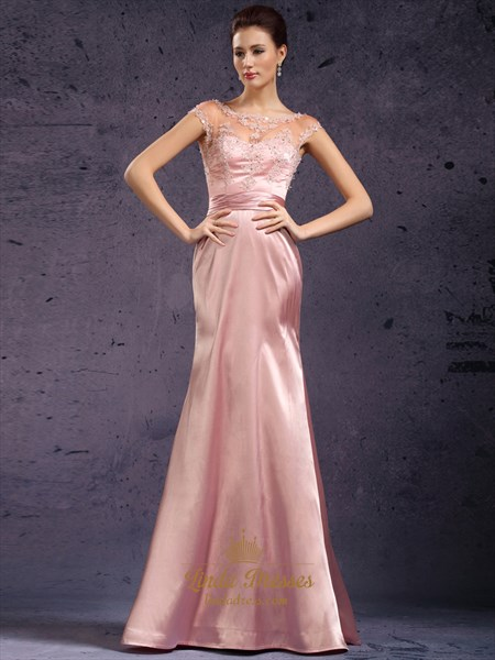 Pink Cap Sleeves Lace Bodice Sheath Prom Dress With Open Backs