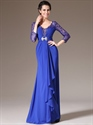Royal Blue Floor Length Prom Dress With Lace Bodice And Long Sleeve
