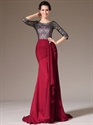 Show details for Red Chiffon Sheath Lace Bodice Prom Dress With 3/4 Length Sleeves