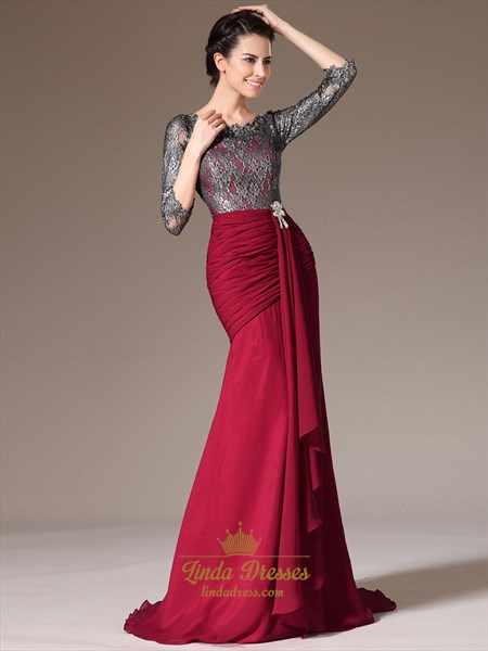 Red Chiffon Sheath Lace Bodice Prom Dress With 3/4 Length Sleeves