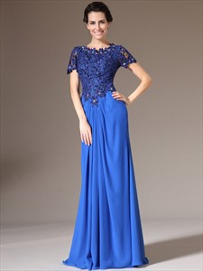 Royal Blue Sheath Lace Bodice Chiffon Prom Dress With Short Sleeve