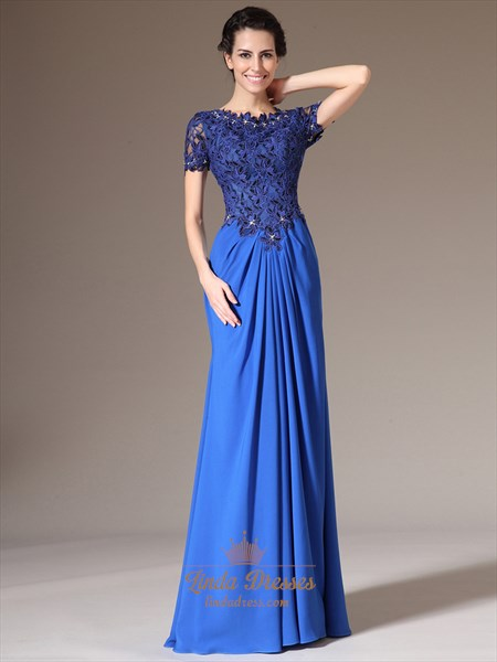 Royal Blue Sheath Lace Bodice Chiffon Prom Dress With Short Sleeve