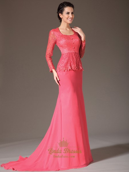 Watermelon Two Tone Mother Of The Bride Dresses With Long Sleeves