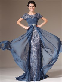 Teal Blue Sheath Mother Of The Bride Dresses With Asymmetrical Draping
